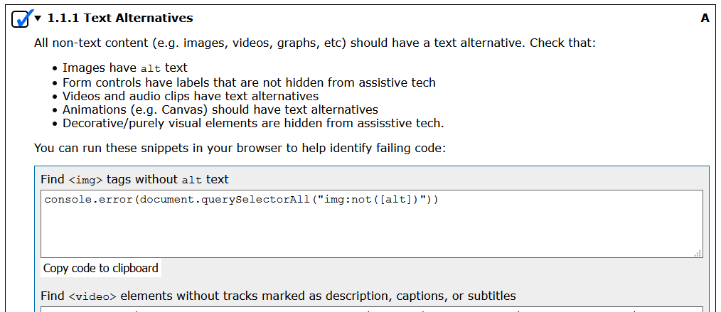 The Text Alternatives guideline in its expanded state showing a short list of non-text elements to check for text alternatives, as well as some code snippets that can be run to check content more easily