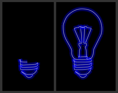 Two stills of an animated bulb canvas drawing
